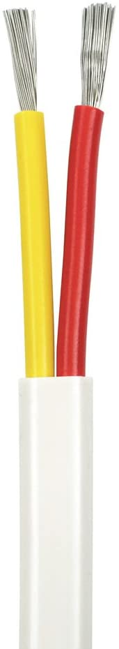12/2 AWG Duplex Flat DC Marine Wire - Tinned Copper Boat Cable - 50 Feet - White PVC Jacket, Red/Yellow Conductor - Made in The USA