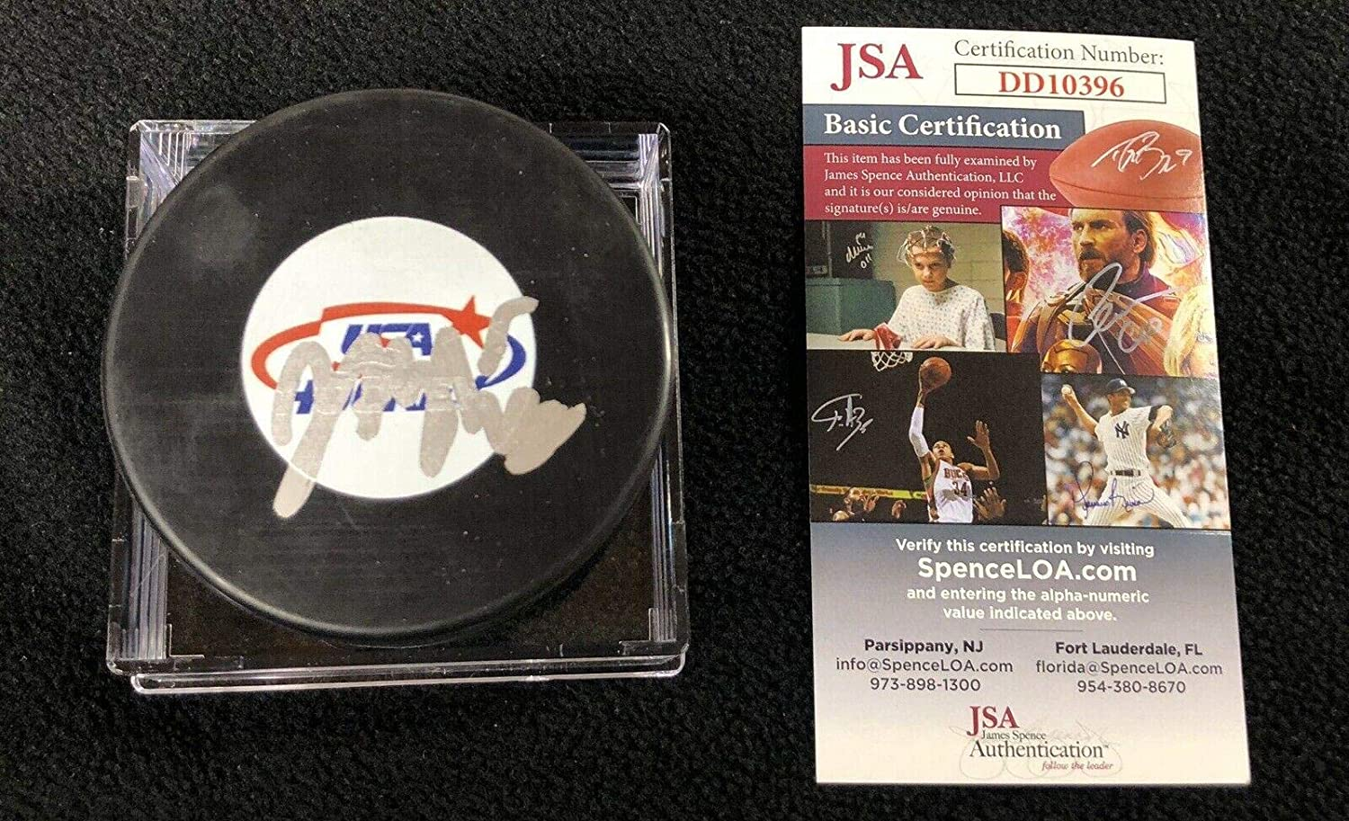 Jack Hughes Signed Puck - USA Authenticated - JSA Certified - Autographed NHL Pucks