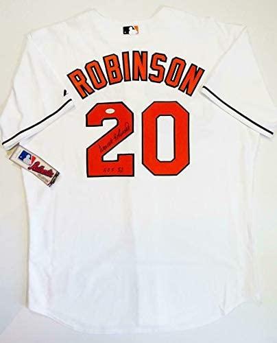 Autographed Frank Robinson Jersey - White Majestic w HOF 82 W - JSA Certified - Autographed MLB Jerseys