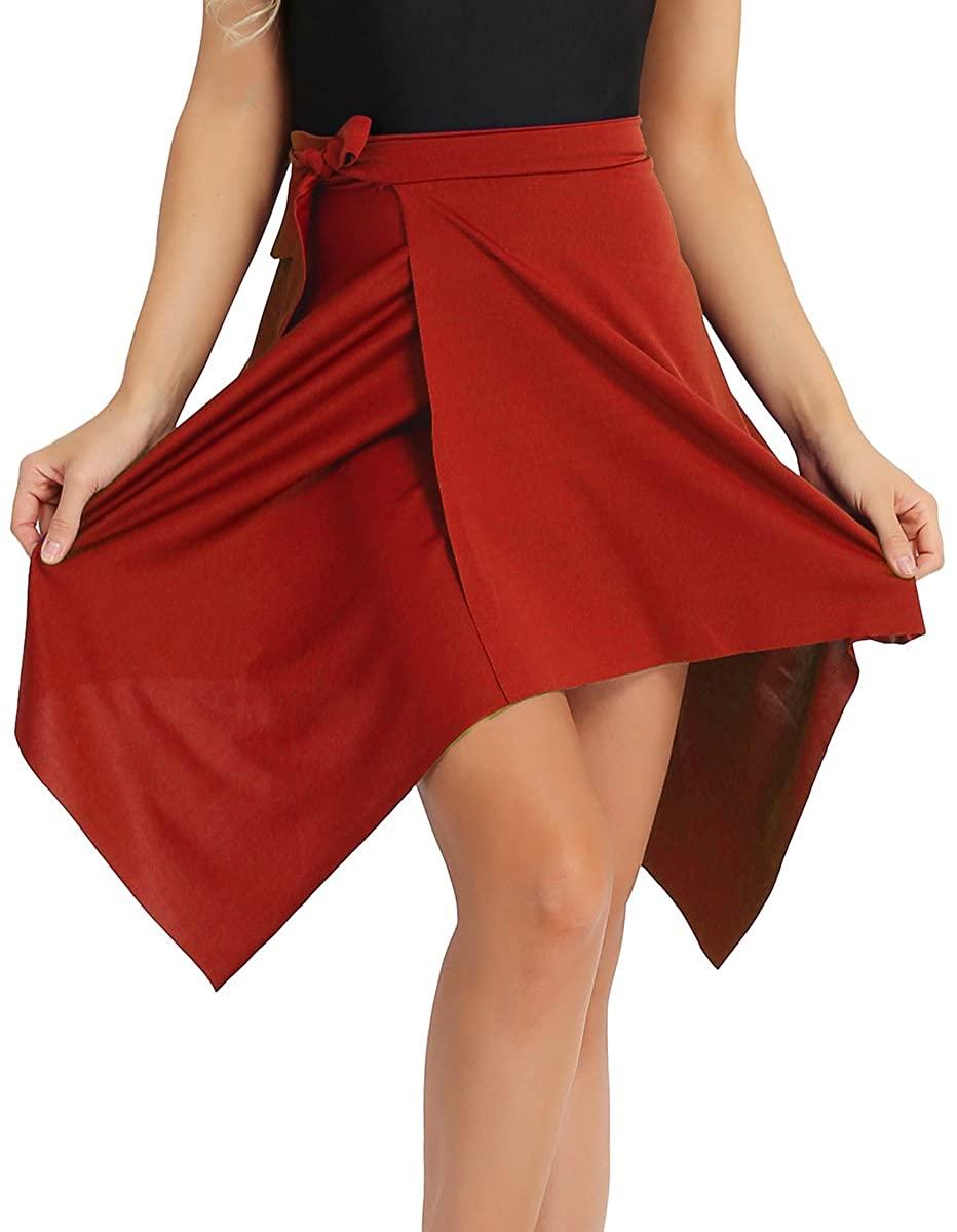 TiaoBug Women's Latin Dance Skirt Skate Tie Side Irregular Wrap Scarf Tango Dancewear