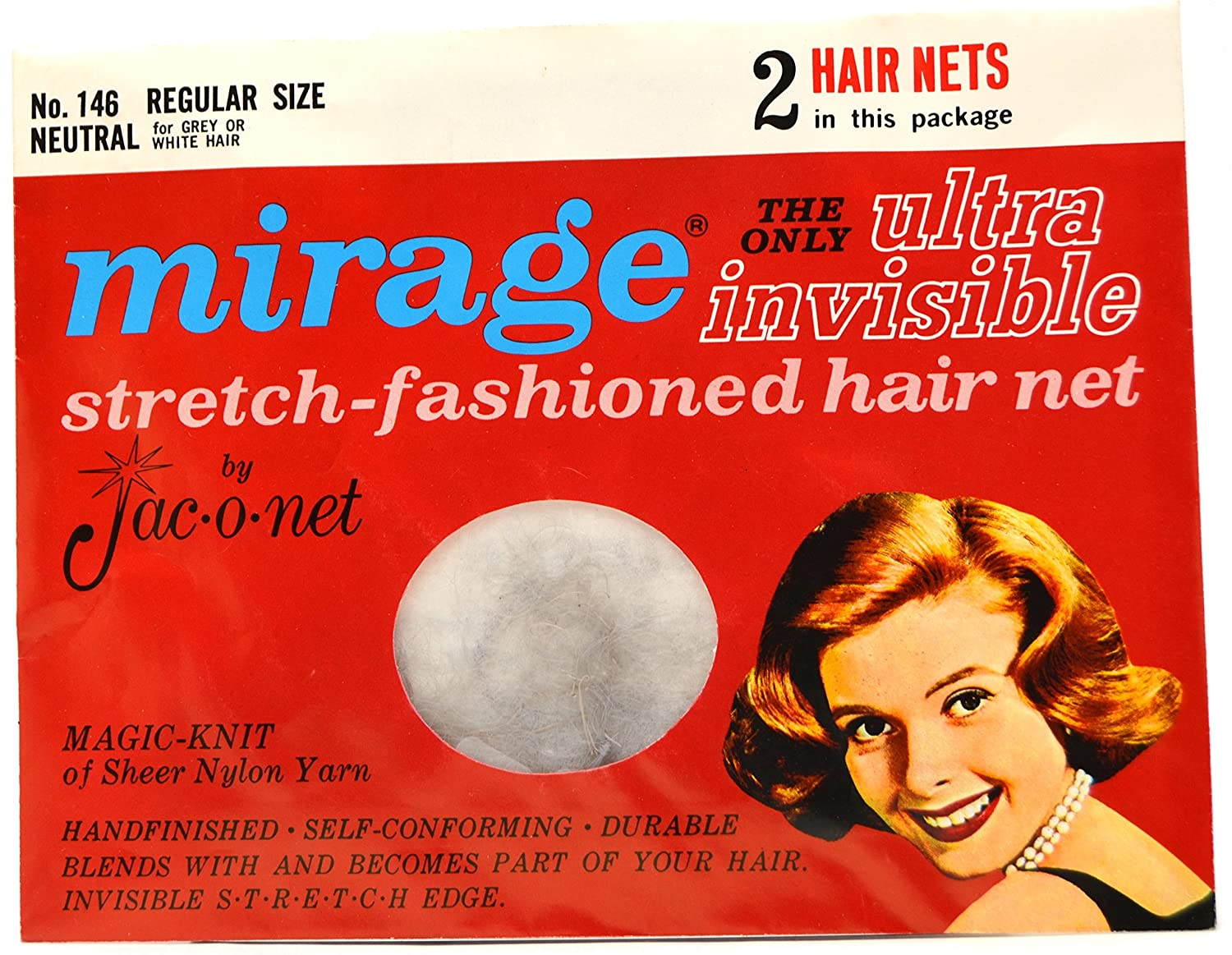 Jac-o-net Mirage Ultra Invisible Hair Net Regular Size Neutral No. 146 2 Nets Per Package