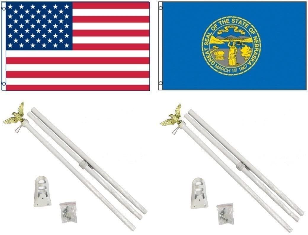 AES 3x5 3'x5' USA American w/State of Nebraska Flag w/Two 6' White Flagpole Pole Kits Eagle Topper