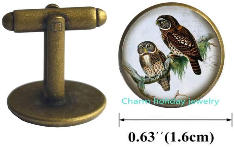 Owl Jewelry-Glass Cuff Links Cufflinks-Victorian Bird,Owl Cufflinks,Silver owl Bird Cufflinks Jewelry Gift,Whimsical Charm Cuff Links,Everyday Cufflinks, 204