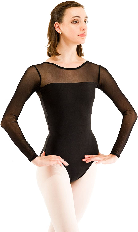 Mesh Top Long Sleeve Ballet Dance Leotard