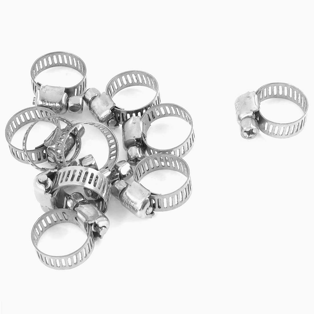 Uxcell Adjustable Stainless Steel Worm Drive Hose Clamp (10 Piece), 9mm to 16mm