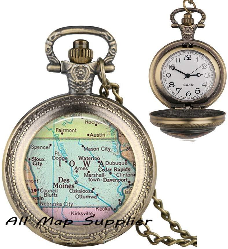 AllMapsupplier Fashion Pocket Watch Necklace,Iowa map Pendant,Iowa map Jewelry,Iowa Pendant,State map Pendant Fashion map Jewelry,A0205