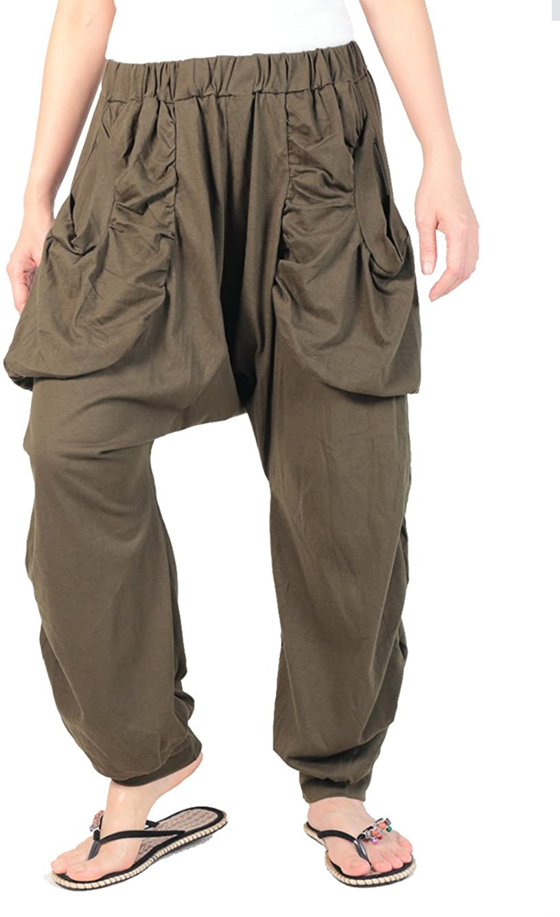 Smileclothing Unisex Jersey Pants, Yoga Pants, Harem Pants, Casual Pants,Military Green, Large (ch17-GR)