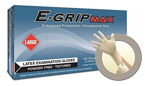 Microflex L924 E-Grip Max Powder-Free Latex Exam Gloves, Capacity, Volume, Latex, x Large, Natural (00)