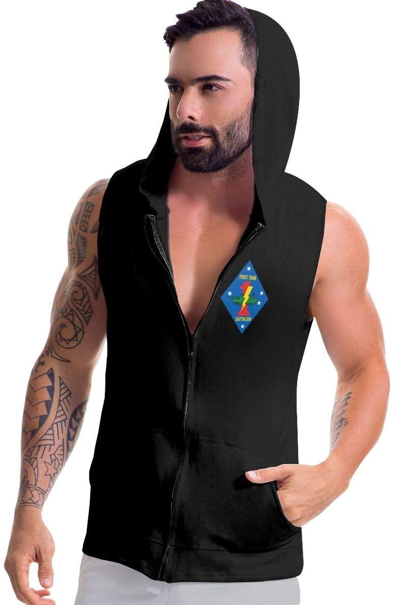 Jriakf 1st Tank Battalion 1 Men's Sleeveless Hooded Sweatshirt Zip-up Hoodies Vest Muscle T with Pockets