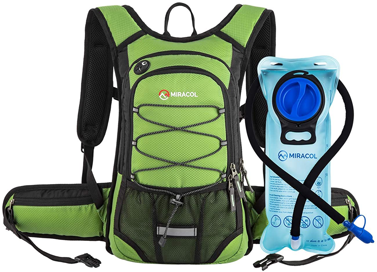 MIRACOL Rose Hydration Pack & Grass Green Water Backpack with Water Bladder
