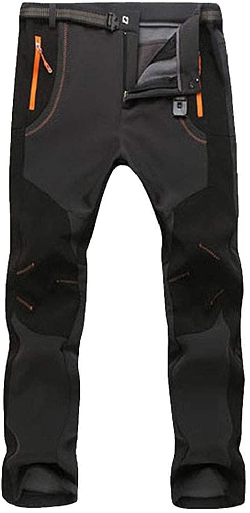 Uni Clau Men Outdoor Waterproof Hiking Pant Fleece Snow Ski Mountain Athletic Sweatpants with Zipper Pocket Long Pant