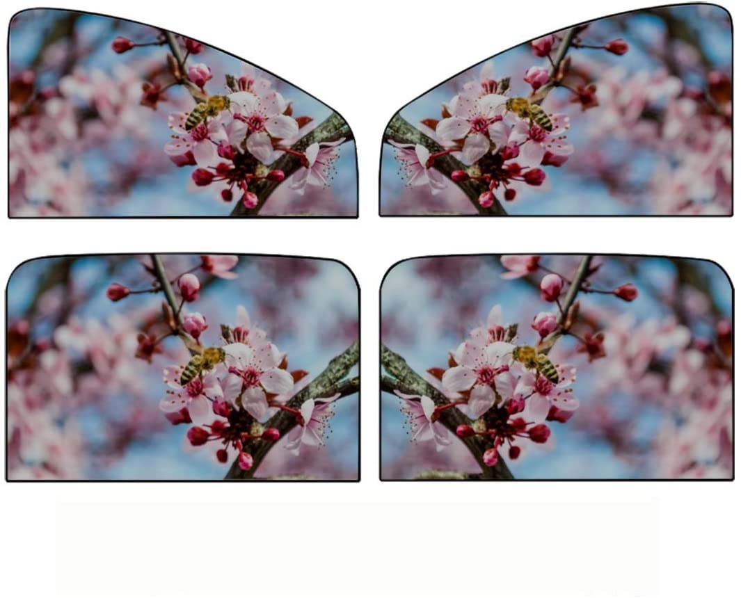 HYANFEN Car Side Window Sun Shade,4pcs Honey Bee Pollinating Pink Sakura Flower Universal Magnetic Curtain with Sun Protection,Maximum Protect Your Baby, Kids and Pets Fit for Most of Cars