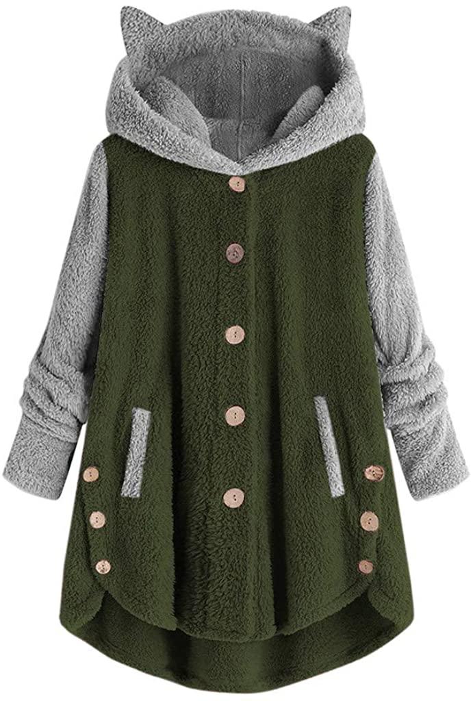 Fleece Jacket Women Sherpa Pullover Hoodie Fleece Hooded Sweatshirt Cat Ear Pocket Warm Winter Hooded Outwear Green