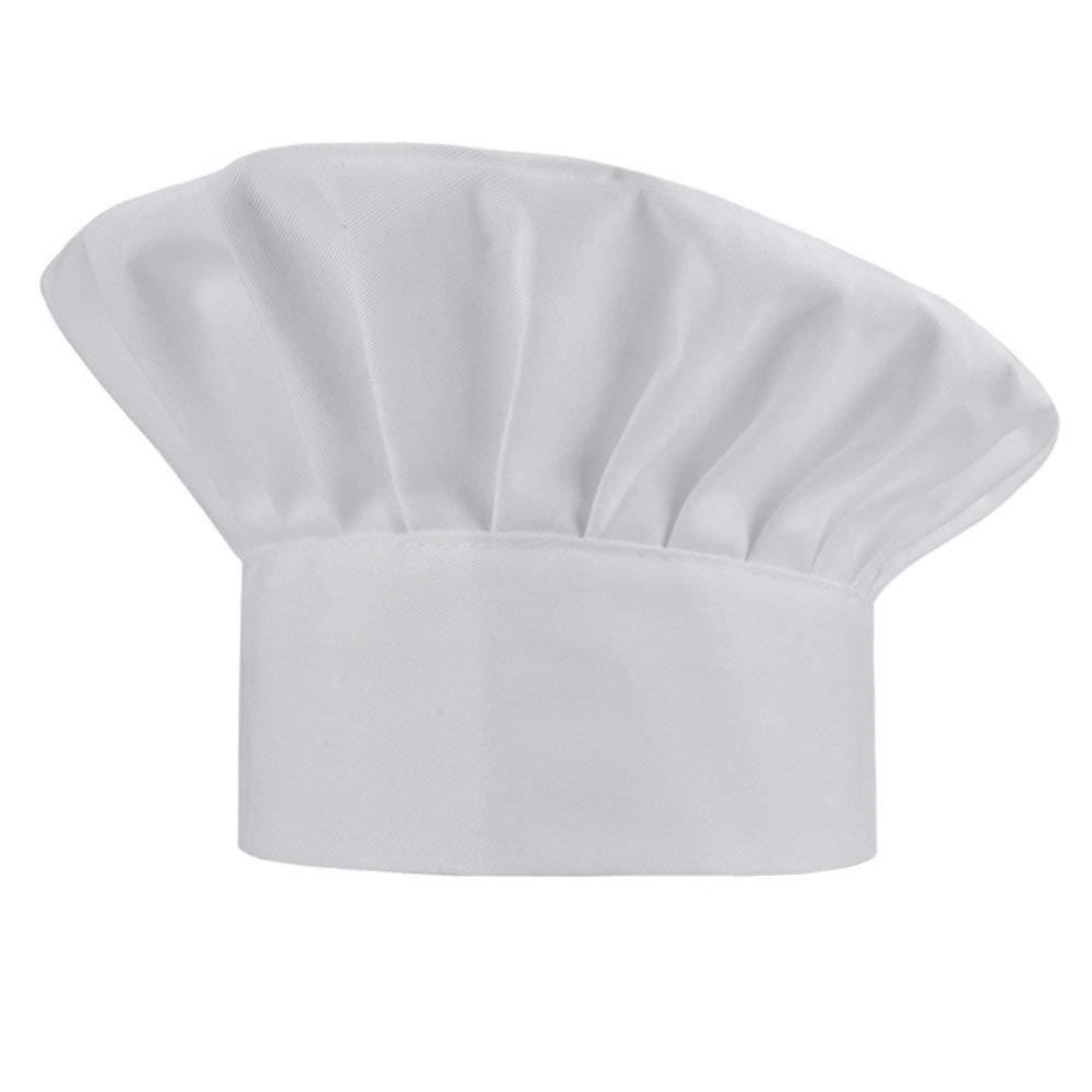 Chef Hat, Adjustable Elastic Baker Kitchen Cooking Hat - White