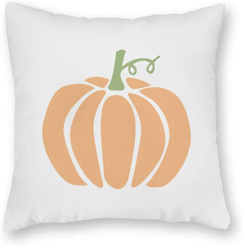N/ A Small Pumpkin Thanksgiving Fall Throw Pillow Cover Decorative 18x18 inch Cotton Linen Cushion Cover for Couch Sofa