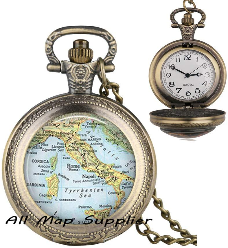 AllMapsupplier Fashion Pocket Watch Necklace,Italy Fashion map Pendant,Italy Pendant,Italy Pocket Watch Necklace,Italy map Pendant,Corsica map,A0240