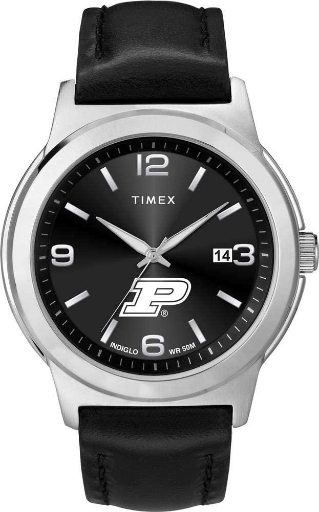 Timex Men's Purdue University Watch Black Leather Band Ace