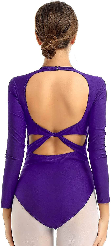 iiniim Women Adults Open Back Long Sleeves Leotard Gymnastics Bodysuit Ballet Dancewear