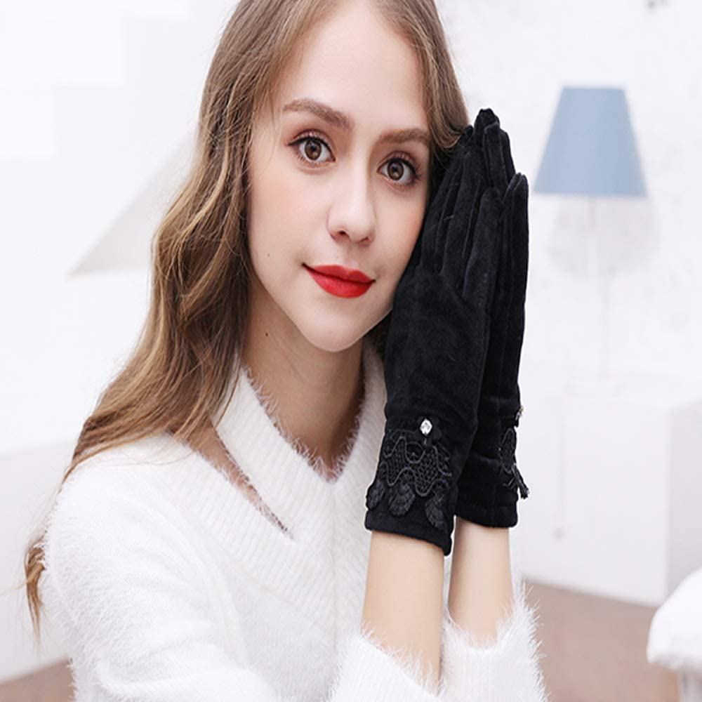 Uoyov Modern Minimalist Fashion Autumn and Winter New Gloves Autumn Flannel Ladies Winter Mother Riding Bicycle Spring and Autumn Thin Multi-Function Riding Banquet Outdoor Gloves Hot Gloves
