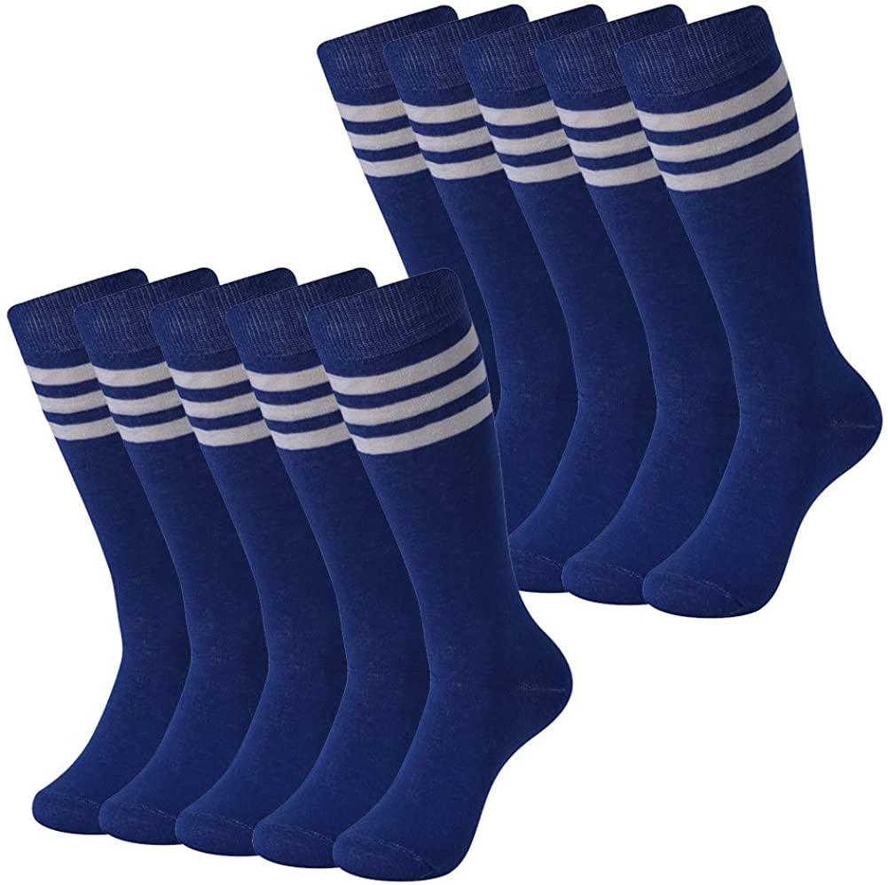 Soccer Socks, SUTTOS Unisex Knee High Triple Stripe Athletic Soccer Football Tube Socks 2/6/10 Pairs
