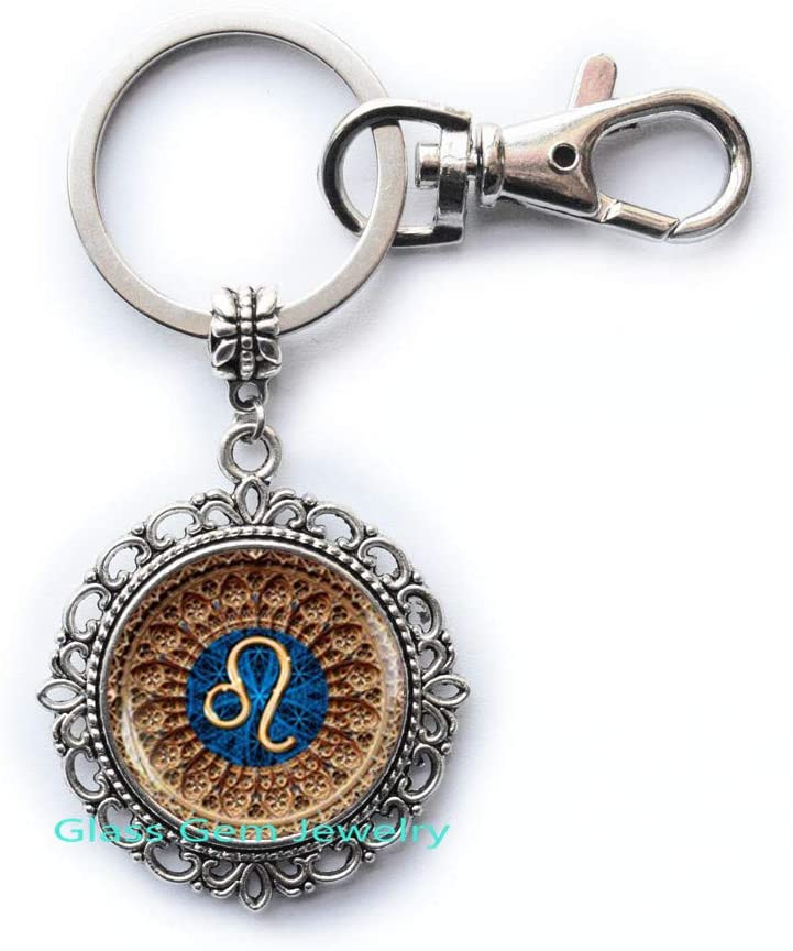 Leo Zodiac Keychain, Leo Key Ring, Leo Zodiac Jewelry, Leo Constellation Keychain, Leo Zodiac Sign, Astrology Keychain,Q0056