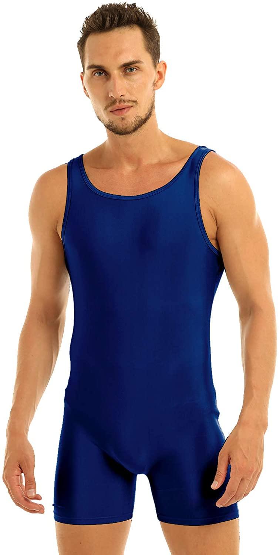 YOOJIA Adult Men's Lycra Solid Color Leotard Bodysuit Dance Unitard Biketard Jumpsuit Singlet
