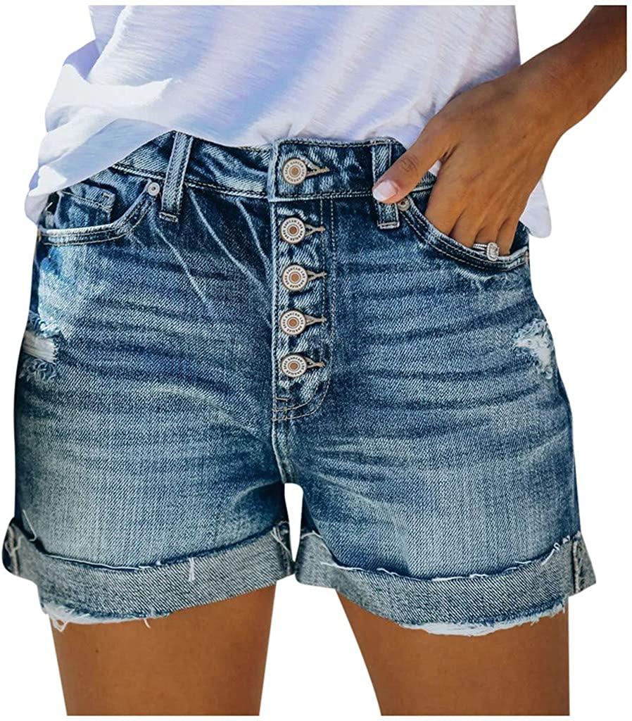 GDJGTA Women High Waisted Skinny Pocket Denim Button Stretch-Free Slim Pants Short Jeans
