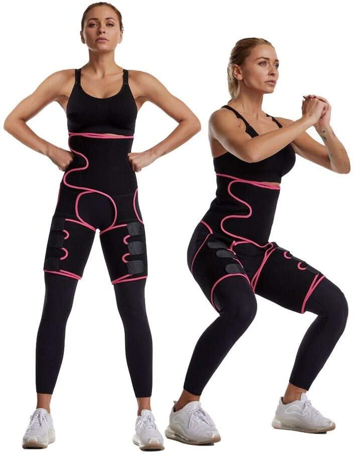 iMustech Sweat Waist Trainer, 3 in 1 Neoprene High Waist Thigh Trainer, for Women Weight Loss Everyday Wear, High Waist Ultra Light Butt Lifter Shaper Thigh Trimmers with Adjustable Belt