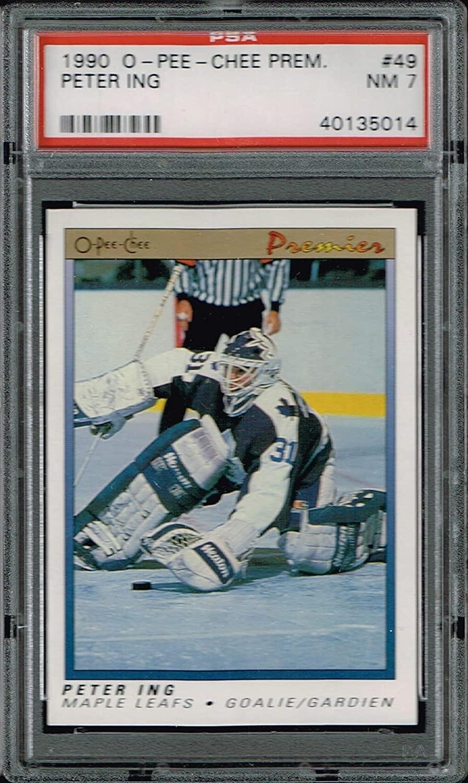 PSA 7 1990 Opeechee OPC Premier NHL Hockey Card Peter Ing #49 Toronto Maple Leafs