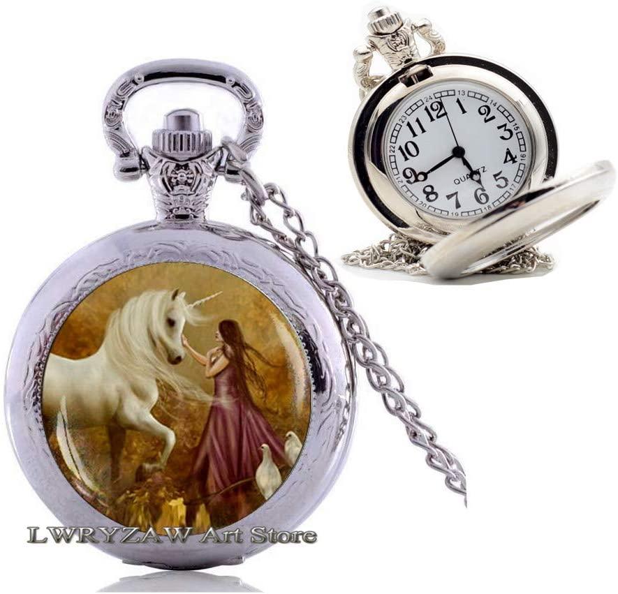 Unicorn Pendant, Unicorn Pocket Watch Necklace, Unicorn Jewelry, Fantasy Style Art Gift, Unicorn Garden Pocket Watch Necklace, Unicorn Forest Pendant,M126