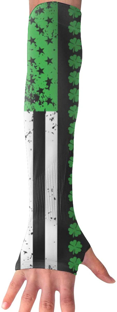 Ruin Gloves Irish Flag Clover UV Protection Cooling Arm Sleeves Glove for Men Women Sunblock Cooler Protective Sports