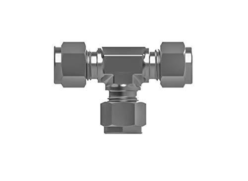 RADWELL RAD-SSP-0014 316 SS, Union TEE, Tube Fitting, 1/2 Tube Fitting X 1/2 Tube Fitting X 1/2 Tube Fitting