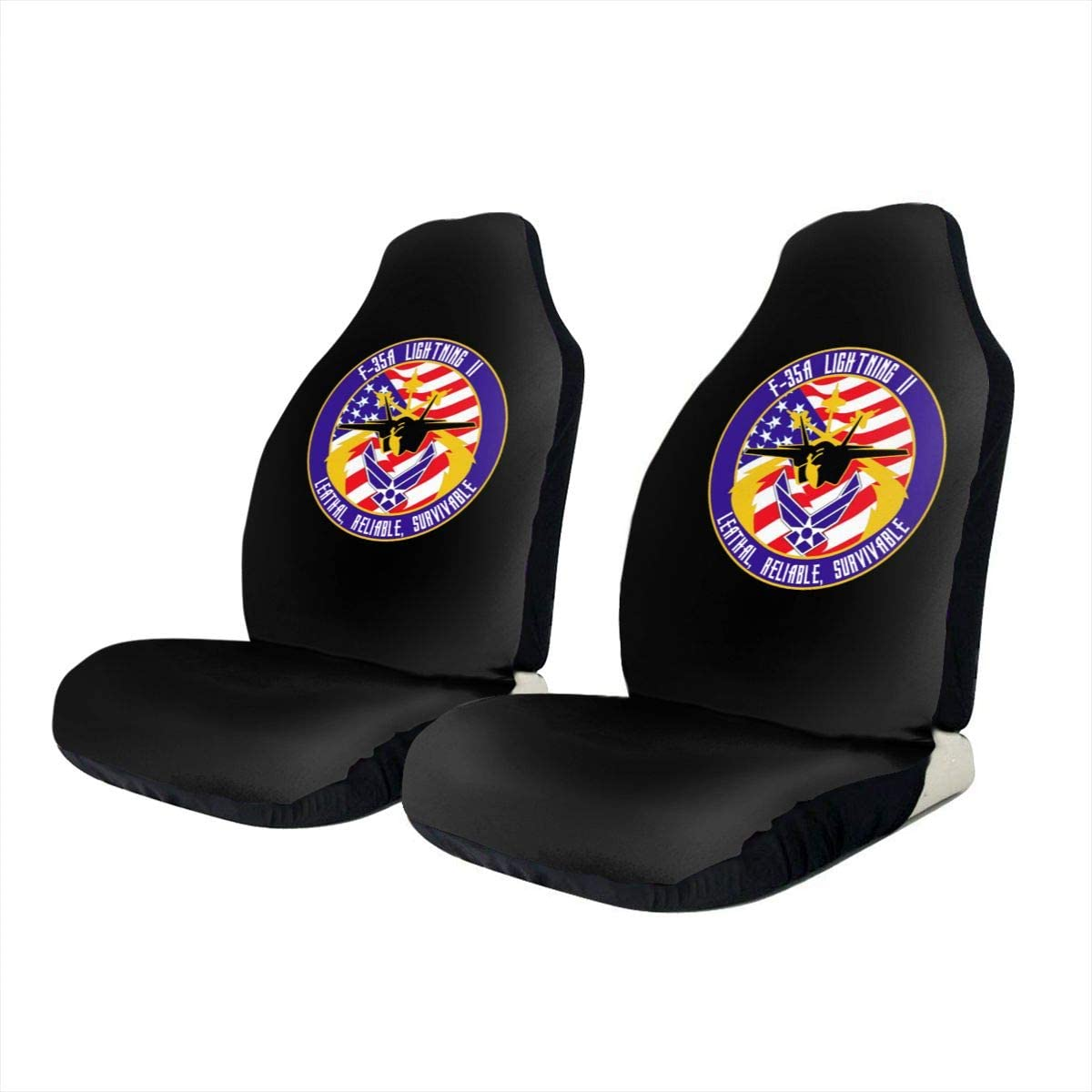 KEEDCE&FJE USAF F-35A Flight Insignia Universal Car Seat Cover Car Seat Covers Protector for Automobile Truck SUV Vehicle
