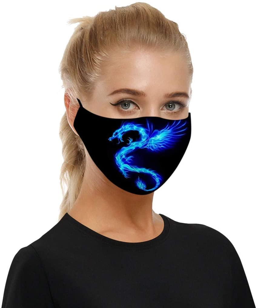 Pordia Face Bandanas Reusable Washable Mascara Lightning Dragon Print Dustproof Adjustable Protective Earloop Masque Outdoor Sports Party Activities Breathing Mask for Women Men + 2 Filters