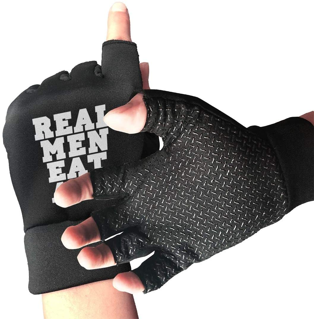 SUMT4men Real Men Eat Ass Logo Unisex Gym Training Gloves Sport Gloves for Wrist and Palm Protection Perfect for Weight Lifting, Powerlifting, Pull Ups, Cross Training