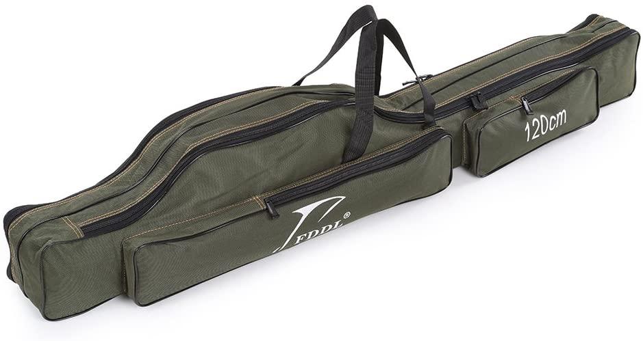 Docooler Folding Fishing Rod Case Canvas Fishing Pole Tools Storage Bag Fishing Gear Tackle 2 Layer/ 3 Layer,120cm/130cm/150cm