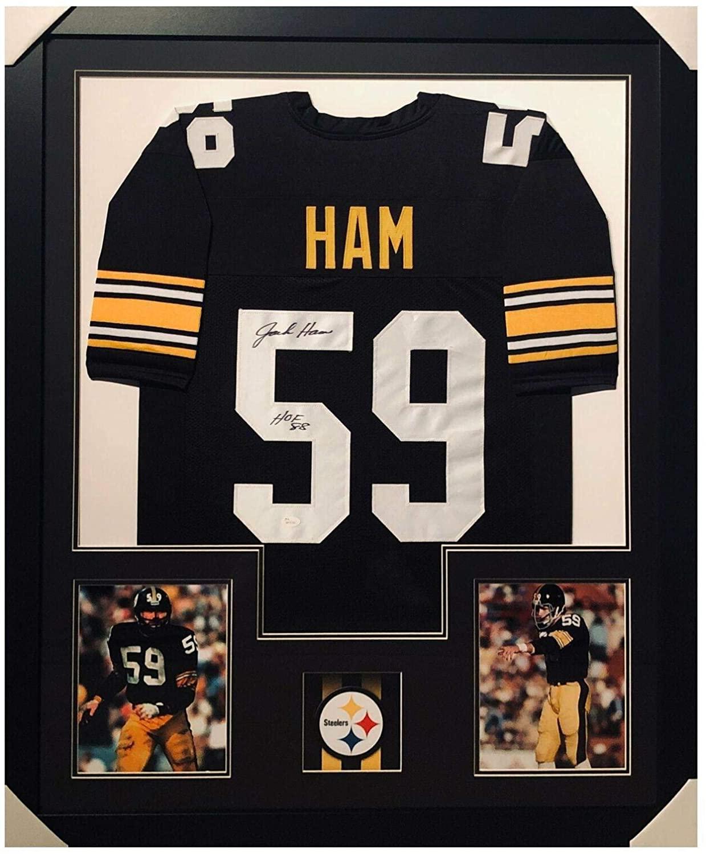 Autographed Jack Ham Jersey - HOF 88 Framed Vertical Layout Pro Edition Black) - JSA Certified - Autographed NFL Jerseys