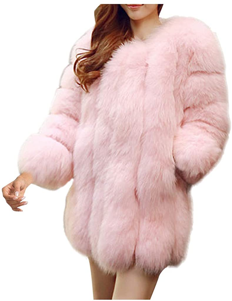 Women's Faux Fur Coat Fashion Long Sleelve Cardigan Overcoat Jacket with Pockets