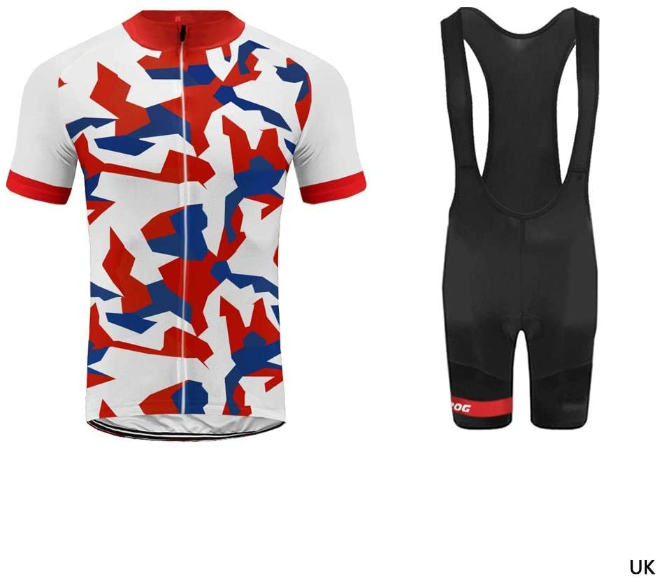 Uglyfrog National Flag Colour Camouflage Men's Cycling Clothing Set Sportswear Suit Bicycle Bike Spring Autumn Outdoor Short Sleeve Jersey + Bib Shorts Breathable Quick-Dry USH19DT04