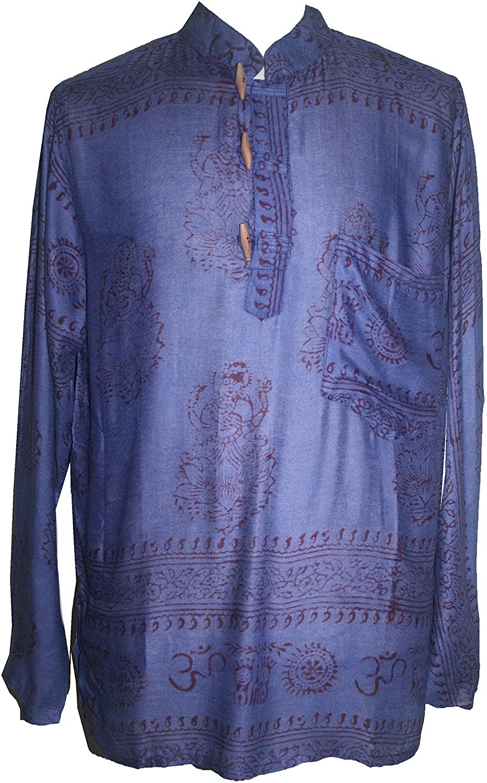 501 MS Mens Womens Rayon Henley Sheer Goddess Script Printed Yoga Kurta Shirt