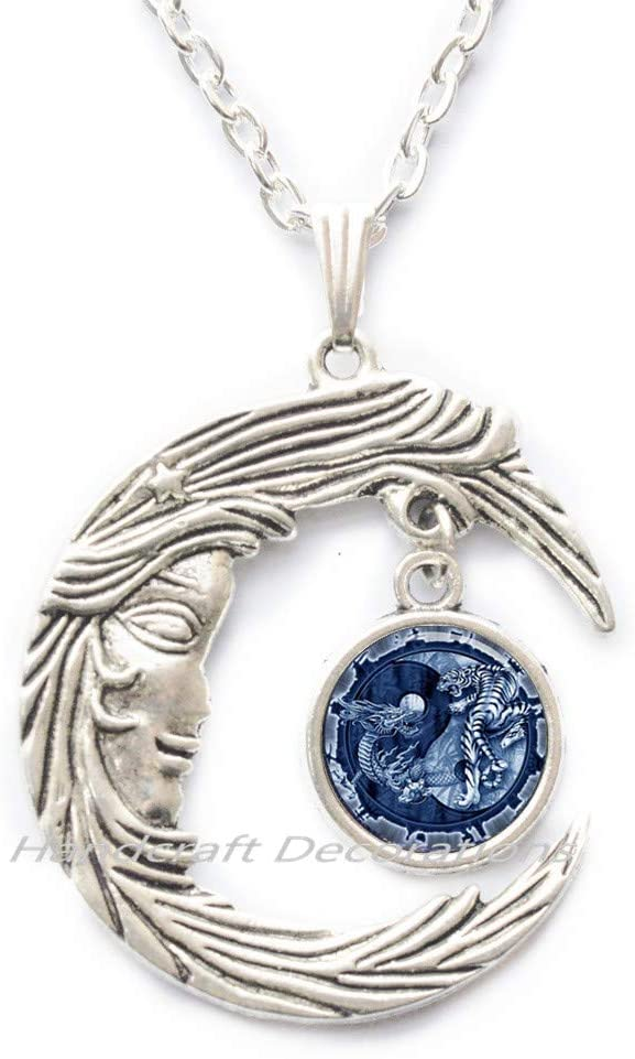 HandcraftDecorations Yin-Yang Dragon and Tiger Pendant Astrology Necklace Jewelery Charm Pendant for Him or Her.F268