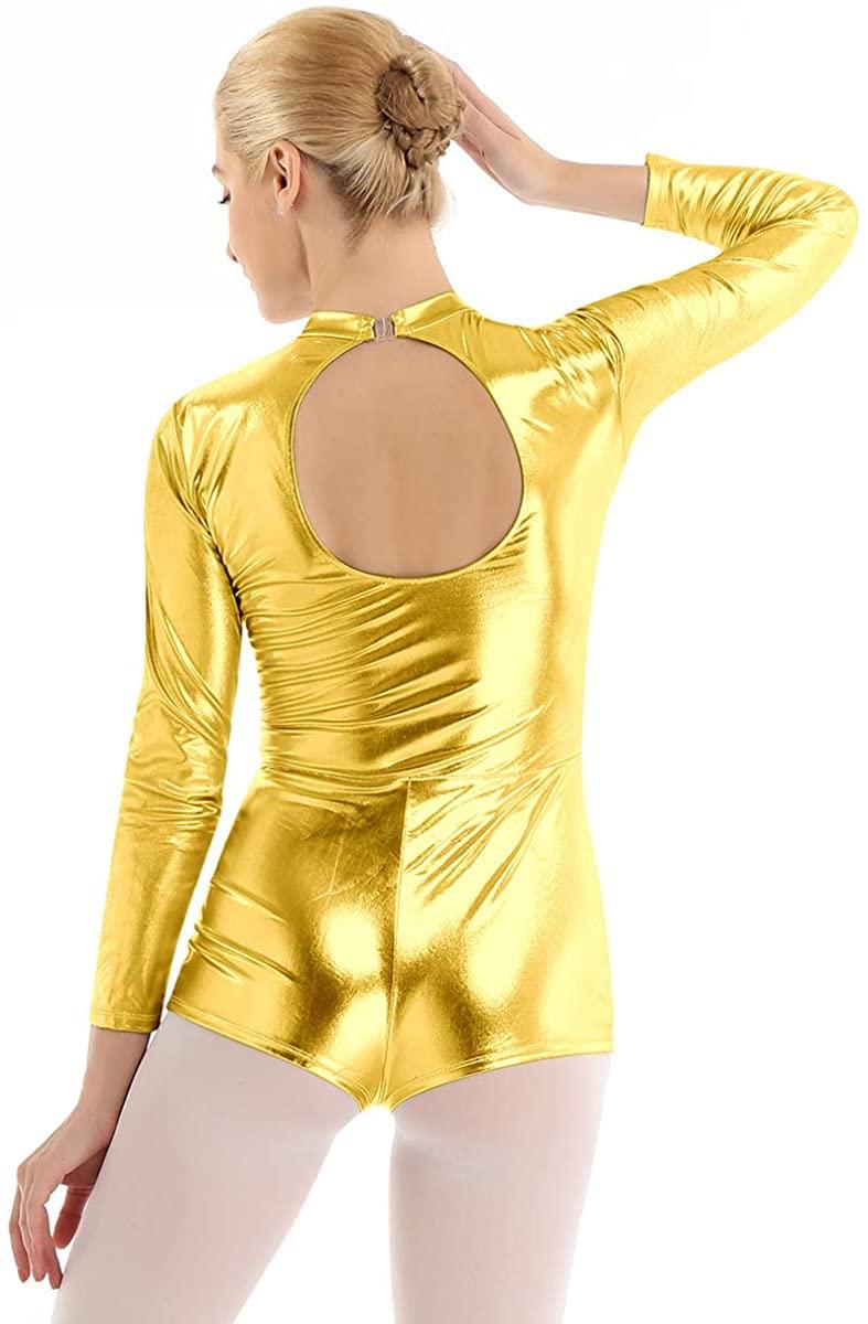 Agoky Women's Shiny Metallic Mock Neck Long Sleeve Dance Leotard Bodysuit Stage Performance Costumes Biketard
