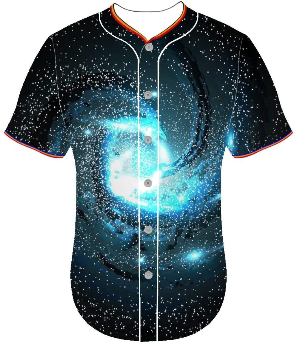 long sleeve 3d print shirt Short Sleeve jerseys Universe eyeo Mens 3D Prints Arc Bottom Baseball Jerseys Entaiquji
