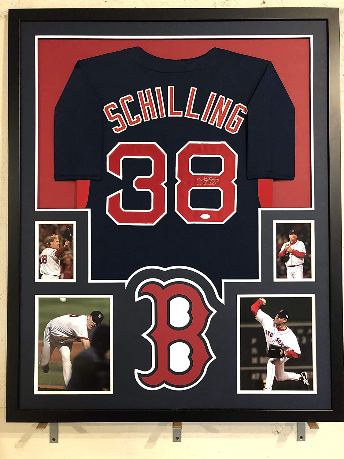 Curt Schilling Autographed Custom Framed Boston Red Sox Jersey JSA Witnessed COA
