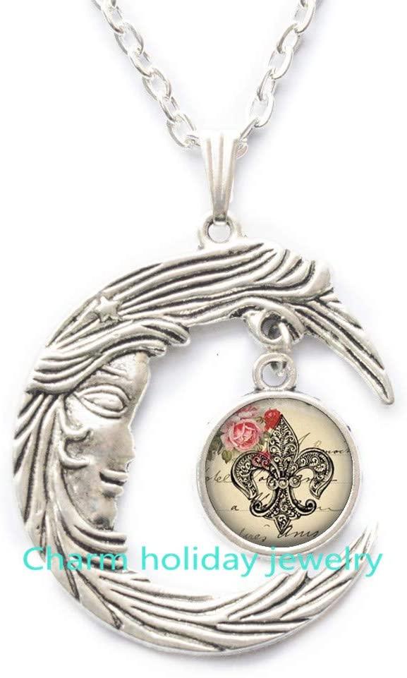 Flur de lis Jewelry Wearable Art French Necklace Flur de lis Pendant Charm Flur de lis Keychain-#96