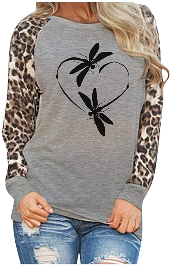 Women Long Sleeve T Shirts Leopard Print Patchwork Tops Oversize Crewneck Raglan Pullovers Print Sweatshirt Gray