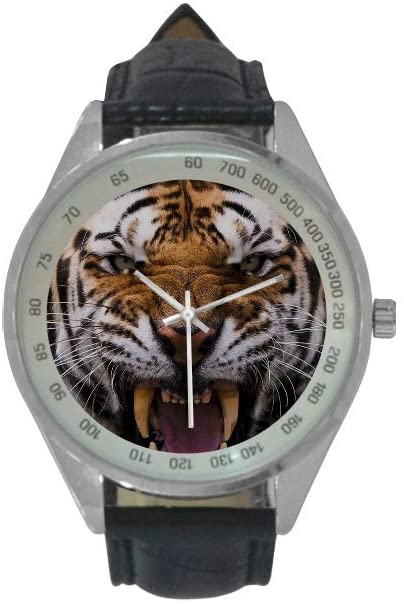 QUICKMUGS2U Scary Roaring Tiger With It's Teeth Out Print Men's Leather Strap Analog Quartz Watch Wrist Business Casual Watch For Men Father