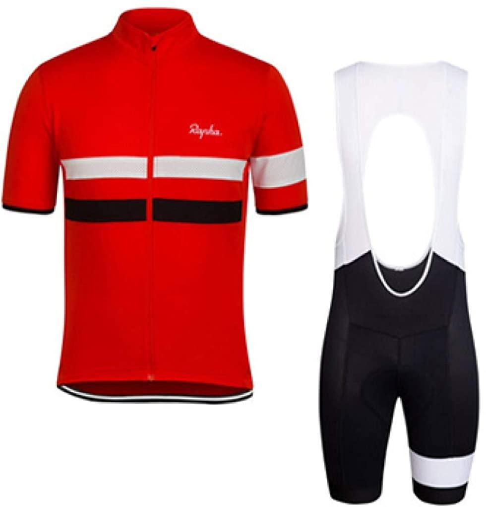 Men's Cycling Jersey Set Shirts 3D Cushion Padded Pants Bib Shorts Bicycle Short Sleeve Set