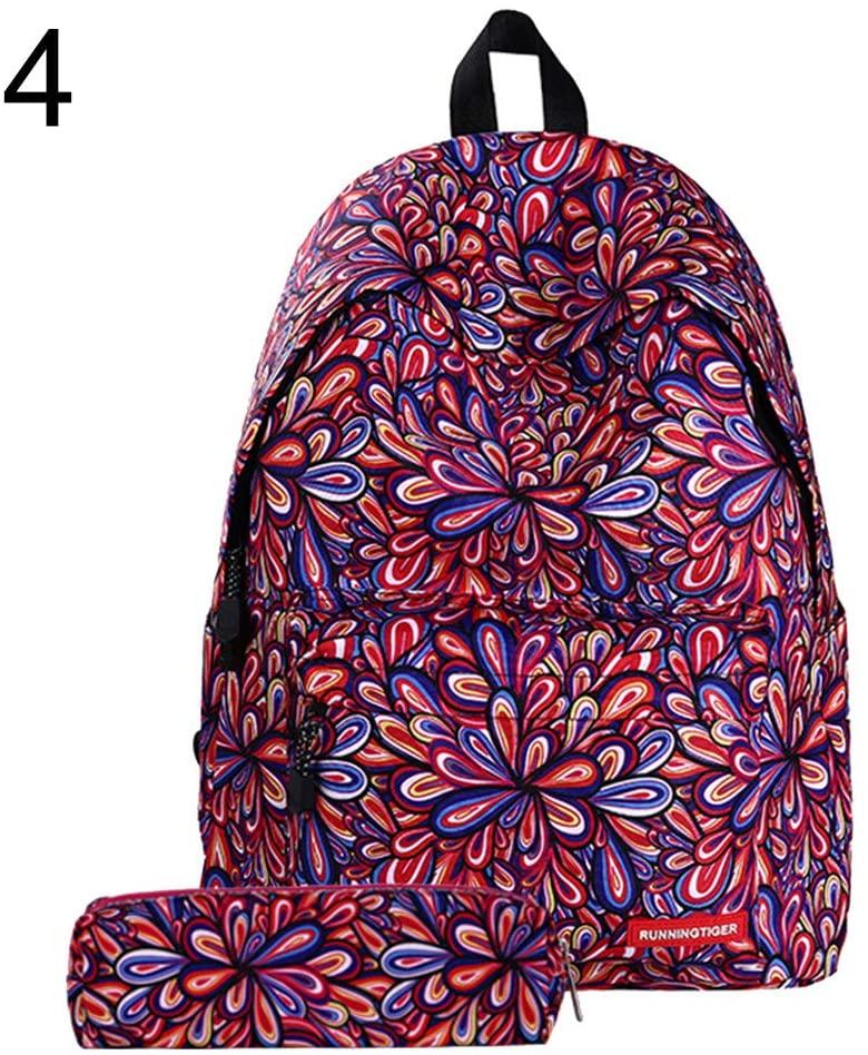 Maserfaliw Women Backpack, Backpack + Pencil Bag,2Pcs/Set Fashion Women Starry Sky Striped Canvas Backpack Schoolbag Pencil Bag - 4#
