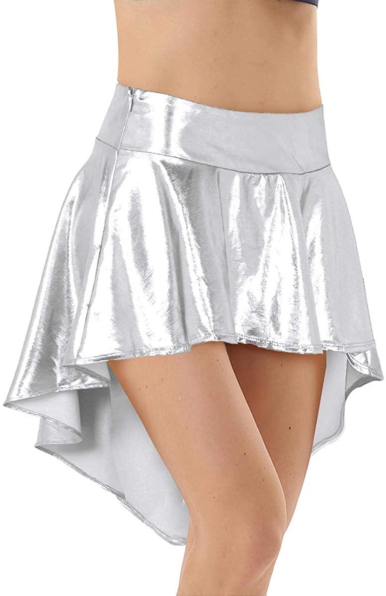 TiaoBug Womens Fashion High Waist Asymmetric Flared Pleated A-Line Skater Skirt